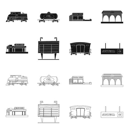 Isolated object of train and station icon. Set of train and ticket stock bitmap illustration. Stock Illustration - 127477587