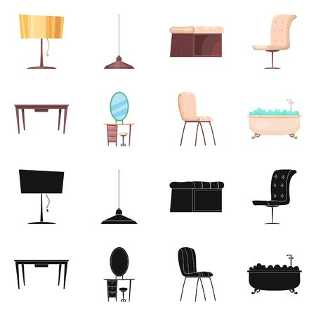 bitmap illustration of furniture and apartment symbol. Collection of furniture and home bitmap icon for stock.