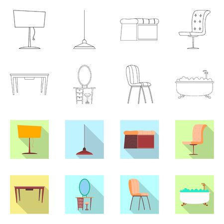 bitmap illustration of furniture and apartment icon. Set of furniture and home stock bitmap illustration.
