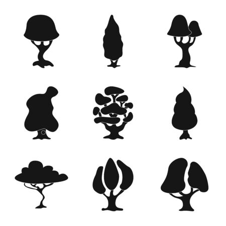 Isolated object of tree and nature icon. Set of tree and crown stock symbol for web. Imagens
