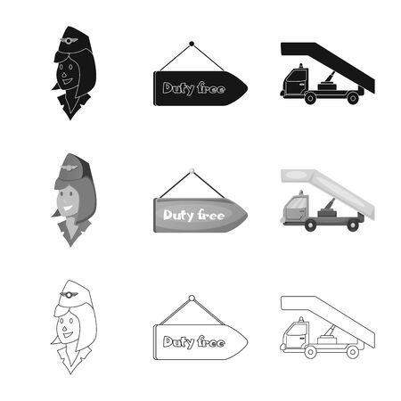 bitmap design of airport and airplane sign. Set of airport and plane bitmap icon for stock.