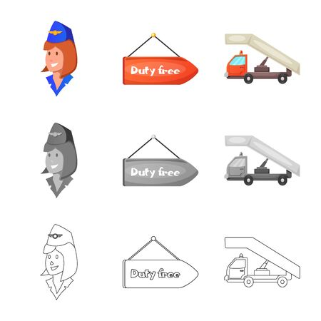 Isolated object of airport and airplane sign. Collection of airport and plane stock symbol for web.