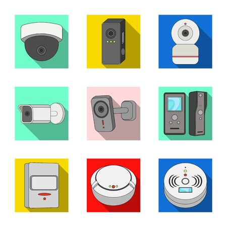 Isolated object of cctv and camera. Set of cctv and system stock bitmap illustration.
