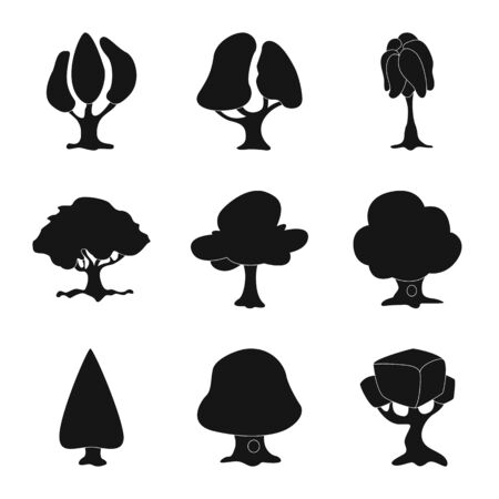 bitmap illustration of tree and nature symbol. Collection of tree and crown stock bitmap illustration.