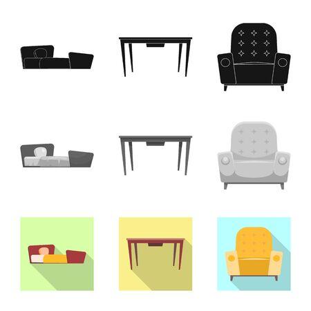 Objet isolé de meubles et signe d'appartement. Collection de meubles et illustration bitmap de stock de maison.