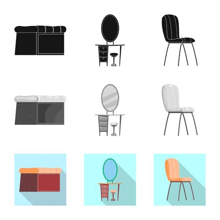 bitmap illustration of furniture and apartment symbol. Collection of furniture and home stock bitmap illustration. Stockfoto