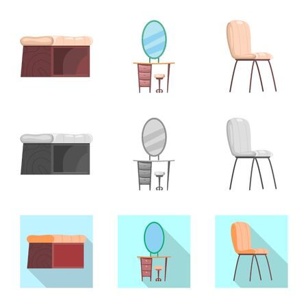 Isolated object of furniture and apartment sign. Collection of furniture and home stock symbol for web. Stockfoto