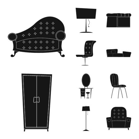 bitmap illustration of furniture and apartment . Set of furniture and home bitmap icon for stock.