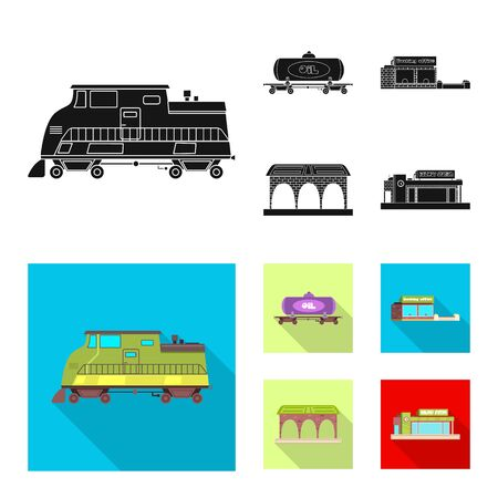 bitmap design of train and station. Set of train and ticket stock bitmap illustration. Stock Illustration - 127477844