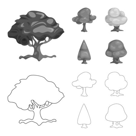 Isolated object of tree and nature. Collection of tree and crown stock bitmap illustration. Imagens
