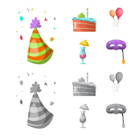 Isolated object of party and birthday symbol. Collection of party and celebration bitmap icon for stock.
