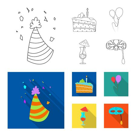 Isolated object of party and birthday. Set of party and celebration bitmap icon for stock.