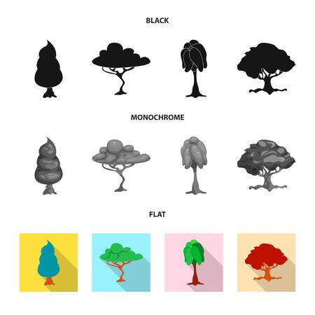 bitmap illustration of tree and nature sign. Collection of tree and crown bitmap icon for stock.