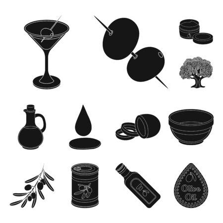 Olive, food black icons in set collection for design. Olive oil, seasoning bitmap symbol stock web illustration.