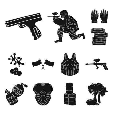 Paintball, team game black icons in set collection for design. Equipment and outfit bitmap symbol stock web illustration.
