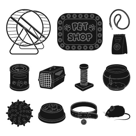 Pet shop black icons in set collection for design.The goods for animals bitmap symbol stock web illustration. Stockfoto