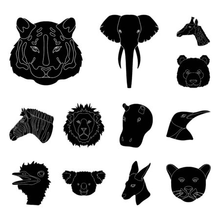 Wild animal black icons in set collection for design. Mammal and bird bitmap symbol stock web illustration.