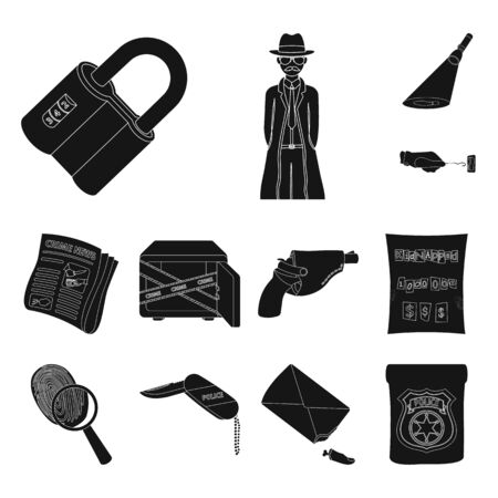 Detective agency black icons in set collection for design. Crime and investigation bitmap symbol stock web illustration. Imagens