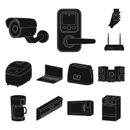 Smart home appliances black icons in set collection for design. Modern household appliances bitmap symbol stock web illustration.