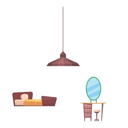 bitmap design of furniture and apartment logo. Set of furniture and home stock bitmap illustration.