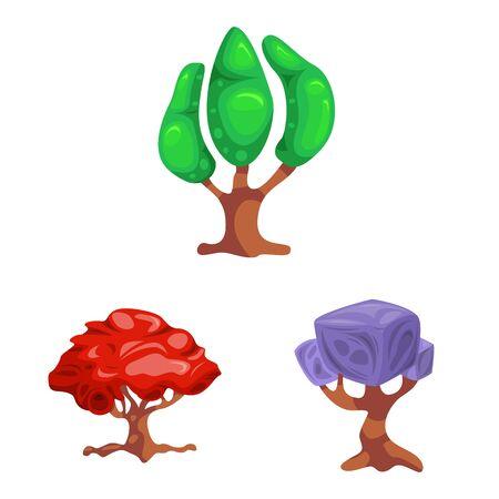bitmap illustration of tree and nature symbol. Collection of tree and crown stock symbol for web. Stockfoto