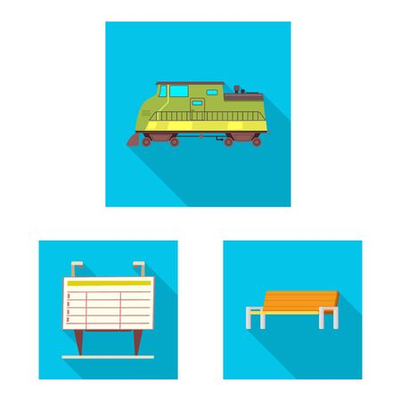 bitmap illustration of train and station . Set of train and ticket stock symbol for web.