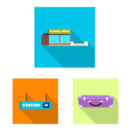 bitmap illustration of train and station . Collection of train and ticket stock symbol for web. Reklamní fotografie