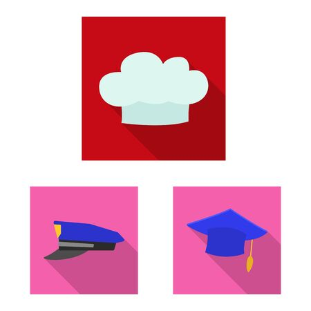 Isolated object of headgear and cap sign. Collection of headgear and accessory stock bitmap illustration.