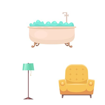 Isolated object of furniture and apartment icon. Collection of furniture and home bitmap icon for stock.