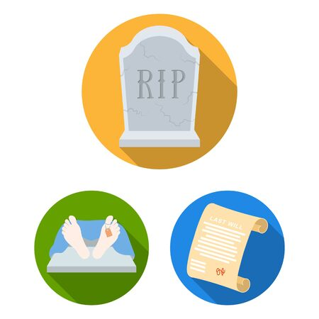 Funeral ceremony flat icons in set collection for design. Funerals and Attributes bitmap symbol stock web illustration. 写真素材