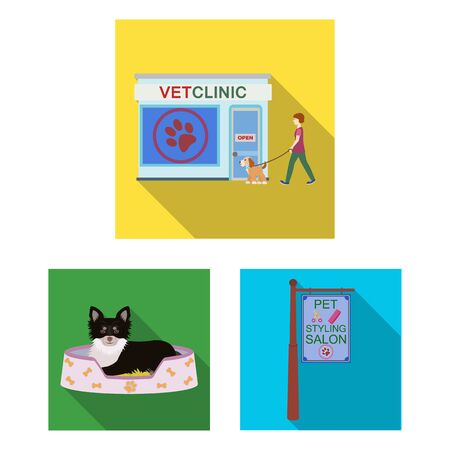 Pet flat icons in set collection for design. Care and education bitmap symbol stock web illustration.
