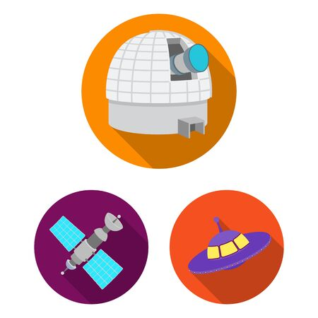 Space technology flat icons in set collection for design.Spacecraft and equipment bitmap symbol stock web illustration.