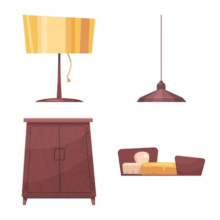 bitmap illustration of furniture and apartment symbol. Collection of furniture and home stock symbol for web.