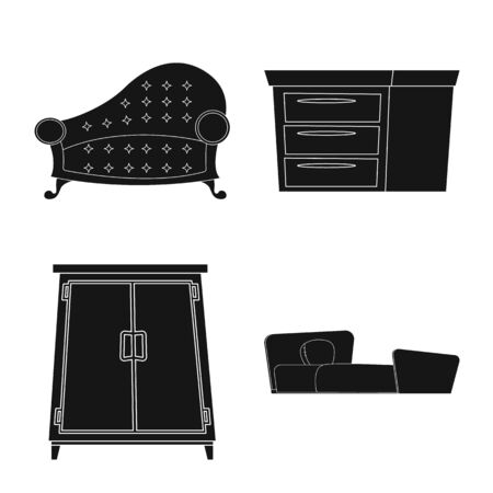 Isolated object of furniture and apartment . Collection of furniture and home bitmap icon for stock.