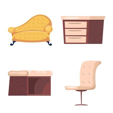 bitmap design of furniture and apartment symbol. Set of furniture and home bitmap icon for stock.