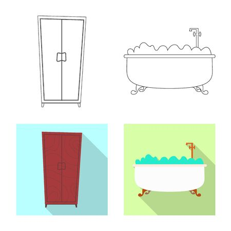 Isolated object of furniture and apartment sign. Set of furniture and home stock bitmap illustration. Banco de Imagens