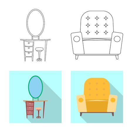 bitmap illustration of furniture and apartment icon. Set of furniture and home stock symbol for web.