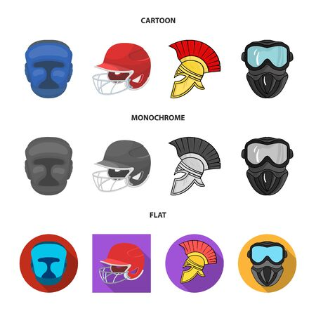 Vector design of helmet and sport icon. Set of helmet and moto stock vector illustration.