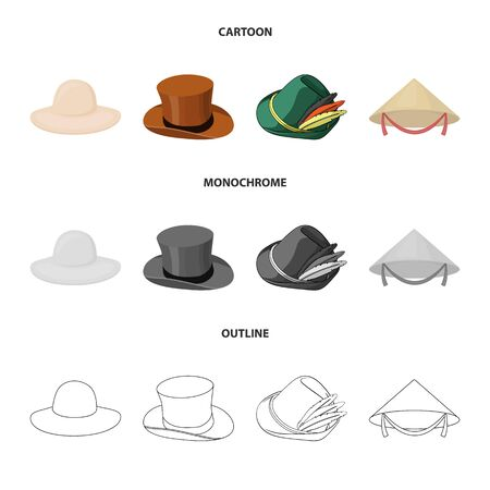 Isolated object of hat and cap symbol. Collection of hat and model stock symbol for web. Illustration