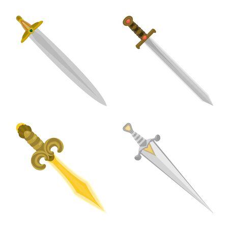 Vector illustration of sword and dagger logo. Set of sword and weapon stock vector illustration.