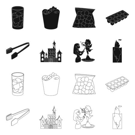 Isolated object of texture and frozen icon. Collection of texture and transparent vector icon for stock.
