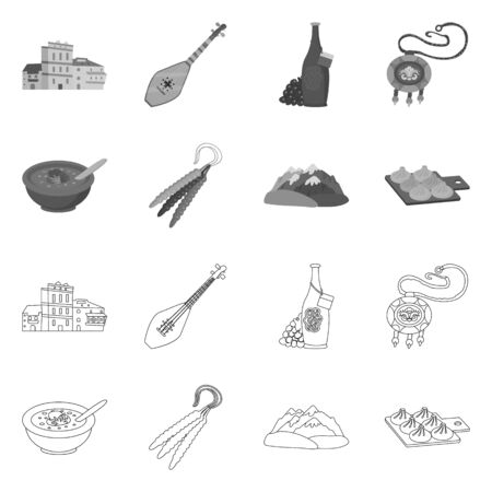 Isolated object of culture and sightseeing symbol. Collection of culture and originality stock vector illustration.