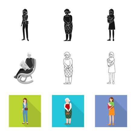 Vector design of character and avatar icon. Collection of character and portrait vector icon for stock. Ilustrace