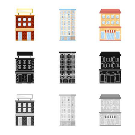 Vektor-Illustration von Stadt- und Zentrum. Satz von Kommunal- und Immobilienaktiensymbolen für das Web.