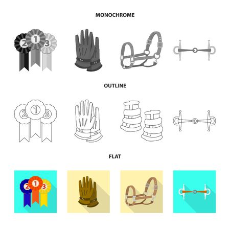 Isolated object of equipment and riding sign. Collection of equipment and competition vector icon for stock. Vettoriali