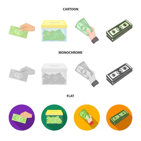 Vector illustration of cash and currency icon. Collection of cash and stack stock symbol for web. Illustration