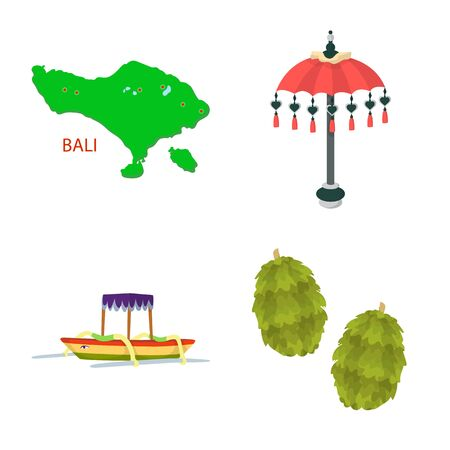 Vector illustration of bali and indonesia symbol. Set of bali and caribbean stock symbol for web. Illustration