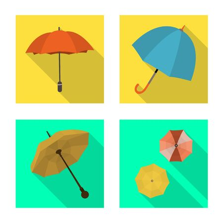 Vector design of umbrella. Collection of protection and rainy stock vector illustration. Çizim