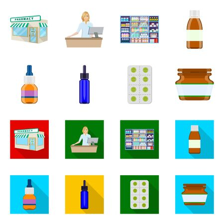 Isolated object of retail and healthcare icon. Set of retail and wellness stock symbol for web.