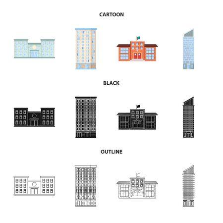Objeto aislado del icono municipal y del centro. Colección de símbolo de acciones municipales y inmobiliarias para web.